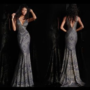 Jovani Dark Gray gold Aztec Gown NWT Vneck